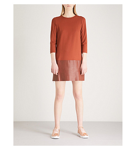 Panelled dress TED and mini Panelled jersey leather Brown TED BAKER jersey BAKER RxxXwvqZ