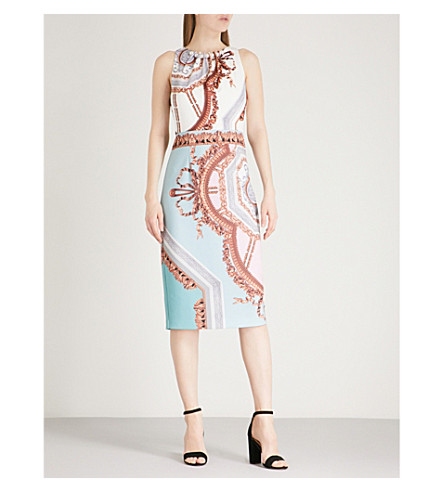 TED BAKER Versailles pearl neck midi dress (Teal