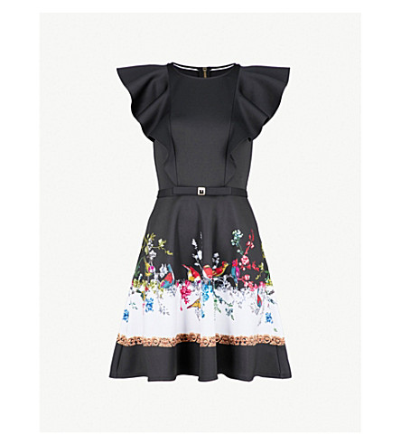 TED BAKER Fauna ruffled crepe dress (Black