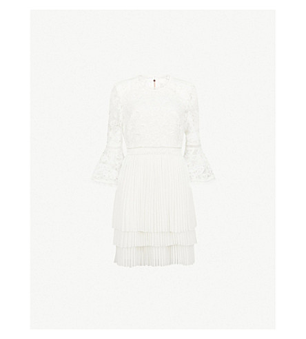 TED BAKER Stefoni floral-lace and chiffon dress (Natural