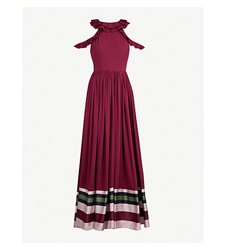 TED BAKER Imperial striped crepe maxi dress (Deep+purple