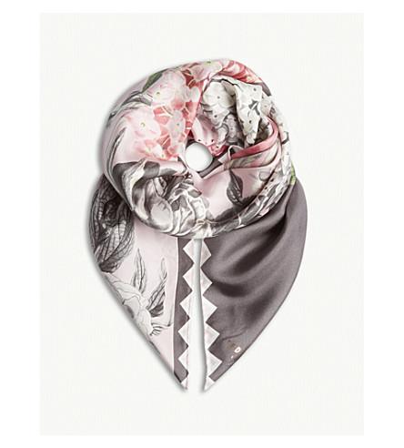 TED BAKER Palace Gardens floral silk scarf (Dusky+pink