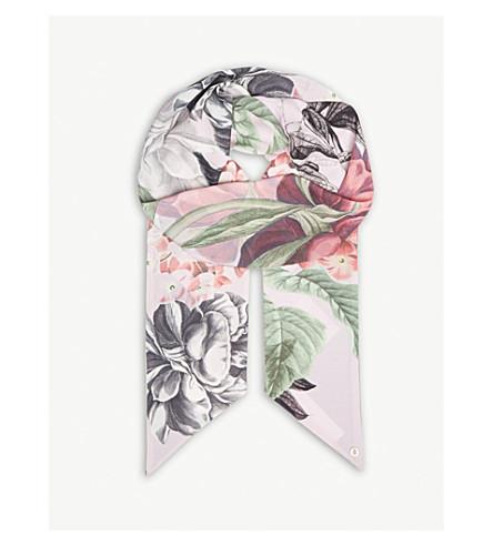 TED BAKER Palace Gardens skinny scarf (Dusky+pink