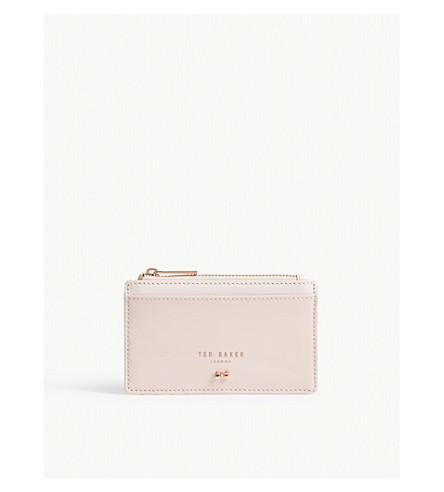 TED BAKER Patent leather zipped card holder (Light+pink