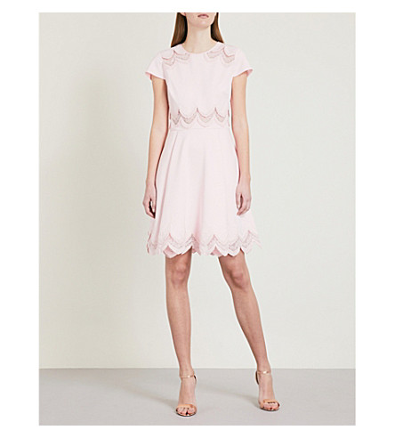 TED BAKER Rehanna embroidered jersey skater dress (Baby+pink