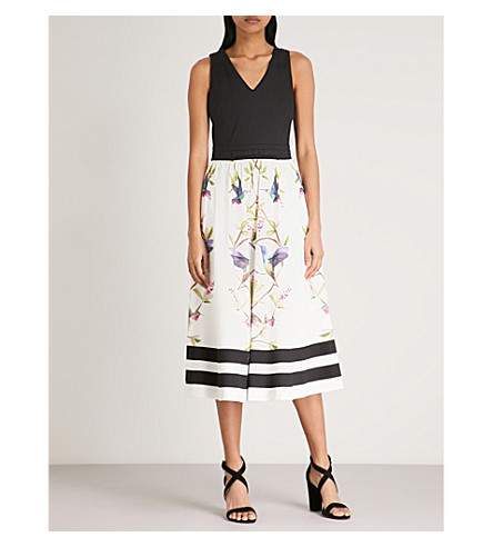 TED BAKER Reice printed stretch-cotton dress (Black
