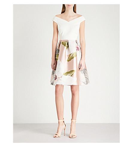 TED BAKER Valtia Chatsworth off-the-shoulder floral jacquard dress (Natural