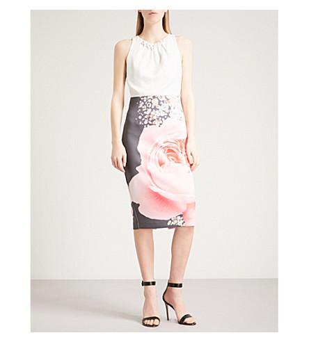 TED BAKER Blenheim floral-print crepe dress (Natural