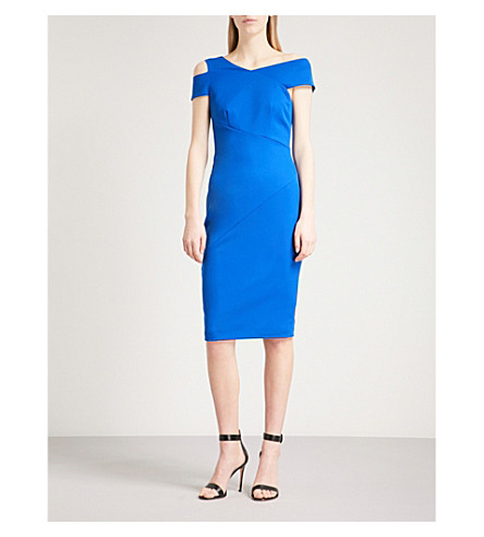 TED BAKER Asymmetric bodycon crepe dress (Mid+blue
