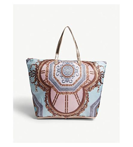 TED BAKER Karalia Versailles foldaway shopper (Teal