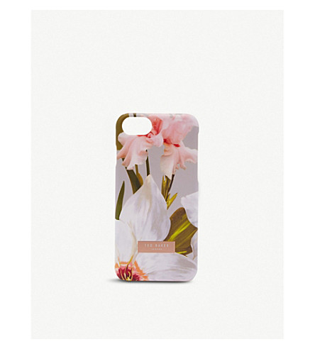 TED BAKER REBECCA Chatsworth bloom clip-on Apple iPhone case (Mid+grey