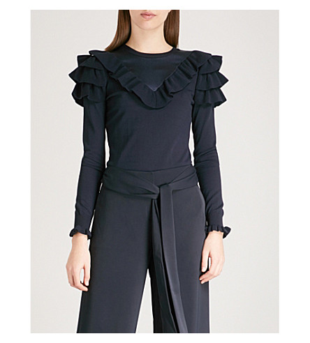 TED BAKER Helgar ruffled knitted jumper (Dark+blue