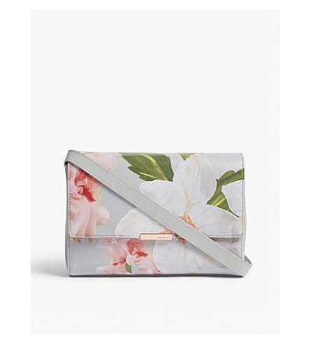TED BAKER Prim floral print cross-body bag (Mid+grey