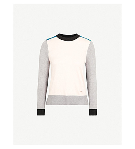 TED BAKER Colour by Numbers Avrilyn knitted jumper (Nude+pink