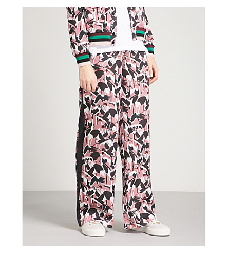 TED BAKER Bird-print wide-leg crepe trousers (Dusky+pink