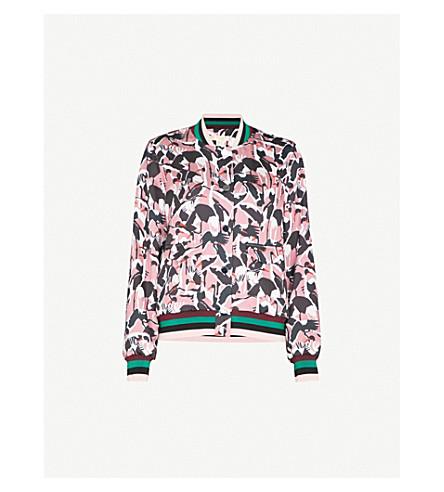 TED BAKER Bird-print crepe bomber jacket (Dusky+pink