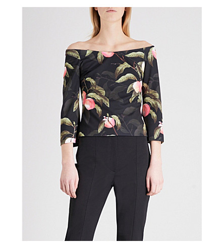 TED BAKER Peach print bardot jersey top (Black
