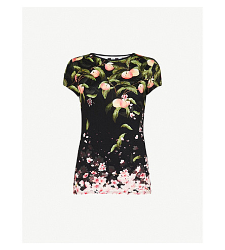 TED BAKER Peach blosson jersey T-shirt (Black