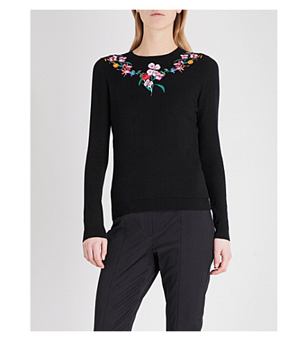TED BAKER Hampton Court embroidered cotton-knitted jumper (Black