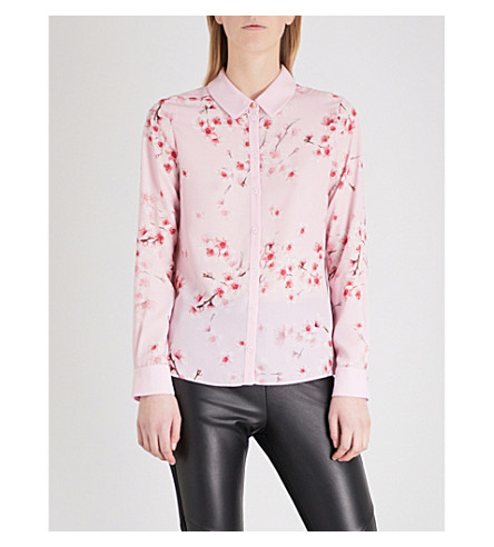 TED BAKER Floral blossom crepe shirt (Light+pink