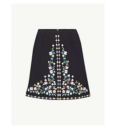 TED BAKER Hampton Court floral embroidered mini skirt (Black