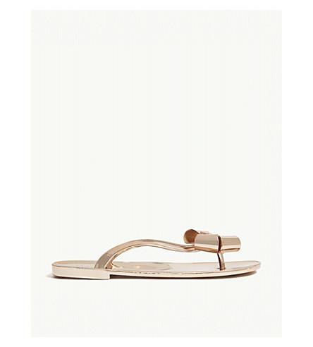 TED BAKER Glamari bow-detail metallic jelly sandals (Rose+gold