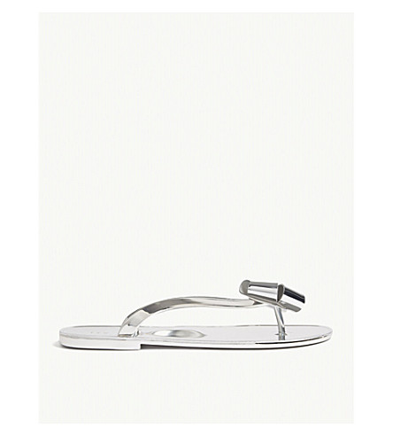 TED BAKER Glamari bow-detail metallic jelly sandals (Silver