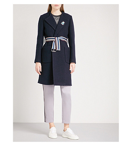 TED BAKER Colour By Numbers Nattaa wool wrap coat (Navy