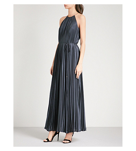 TED BAKER Alcee metallic pleated maxi dress (Navy