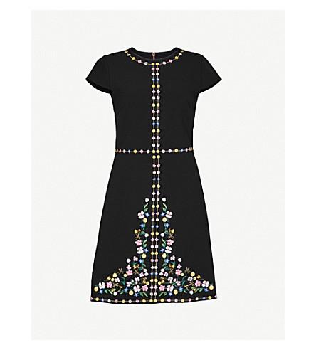 TED BAKER Hampton Court floral embroidered shift dress (Black