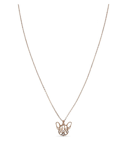 TED BAKER Frenche bulldog pendant necklace (Rosegold+col