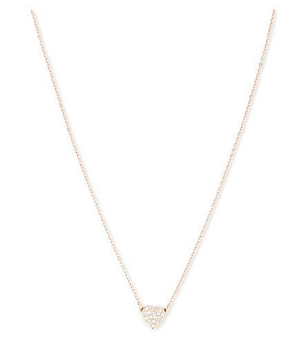 TED BAKER Pipa crystal-heart pendant necklace (Clear