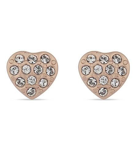 TED BAKER Primm crystal heart stud earrings (Clear