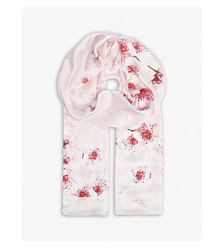 TED BAKER Brynn blossom long silk scarf (Light+pink