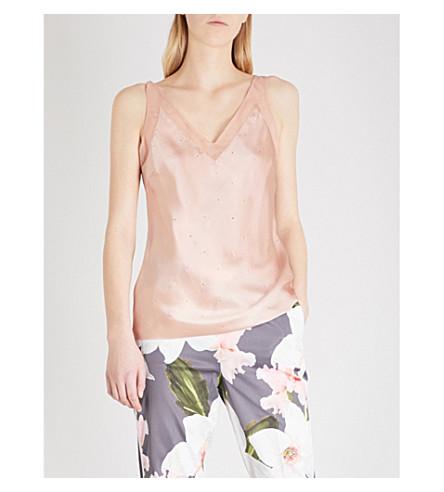 TED BAKER Zaneti stud-embellished silk-satin camisole (Rose+gold
