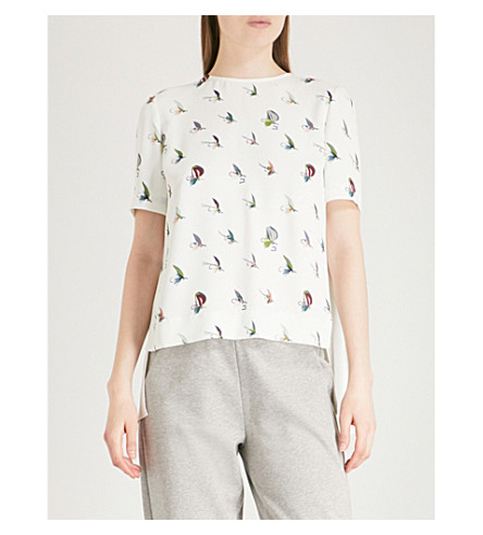 TED BAKER Fly fishing print silk crepe top (Ivory