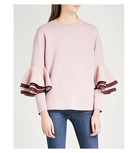 TED BAKER 皱纹-裁剪弹力球衣运动衫 (黑糊糊 + 粉红色