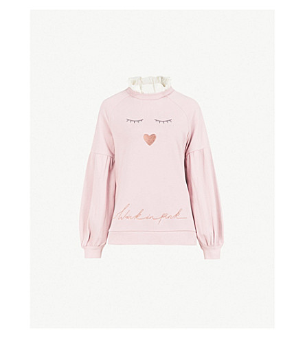 TED BAKER Evliin embroidered cotton sweatshirt (Dusky+pink
