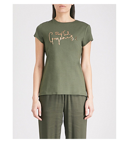 TED BAKER Ted Says Relax Maddlyn metallic-print stretch-jersey T-shirt (Khaki