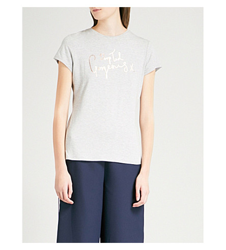 TED BAKER Ted Says Relax Maddlyn metallic-print stretch-jersey T-shirt (Light+grey