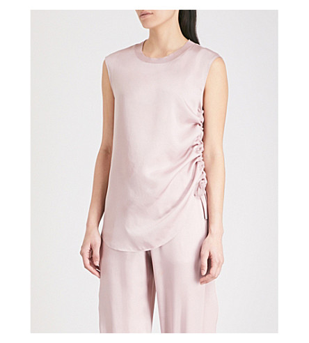 TED BAKER Ted Says Relax Samiey ruched panelled satin top (Dusky+pink