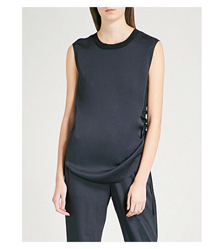 TED BAKER Ted Says Relax Samiey ruched panelled satin top (Navy