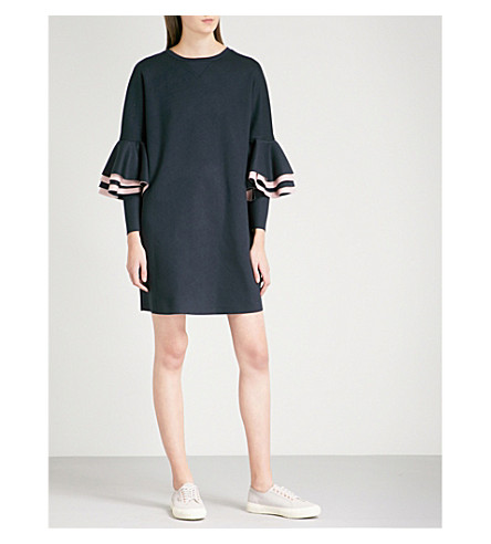 TED BAKER Ted Says Relax frilled-sleeve jersey dress (Navy