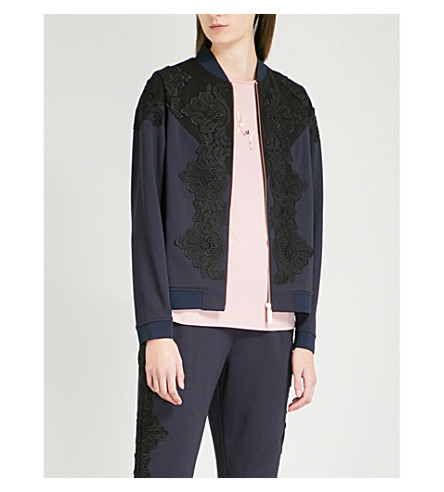 TED BAKER Ted Says Relax Sadiet floral-lace and stretch-jersey bomber jacket (Navy