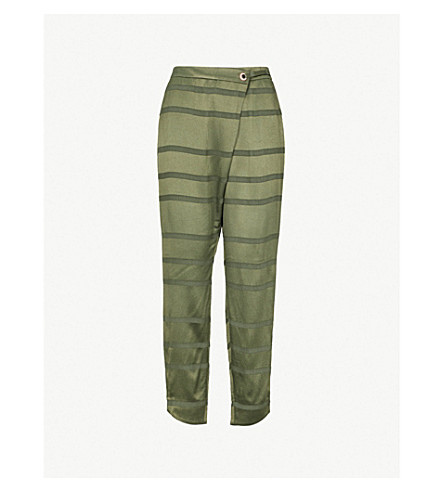 TED BAKER Ted Says Relax striped relaxed-fit high-rise satin-crepe trousers (Khaki