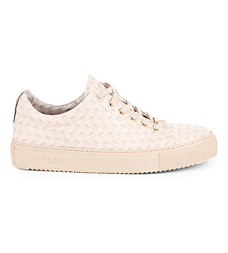 TED BAKER Colour by Numbers Flamingo embossed leather trainers (Nude+pink