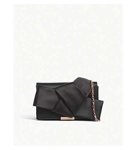 TED BAKER Knot bow satin evening bag (Black