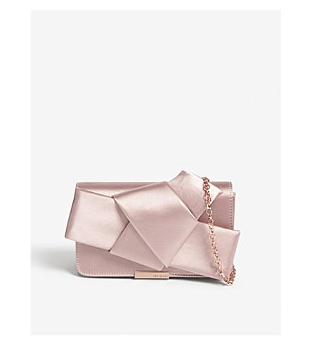 TED BAKER Knot bow satin evening bag (Light+pink