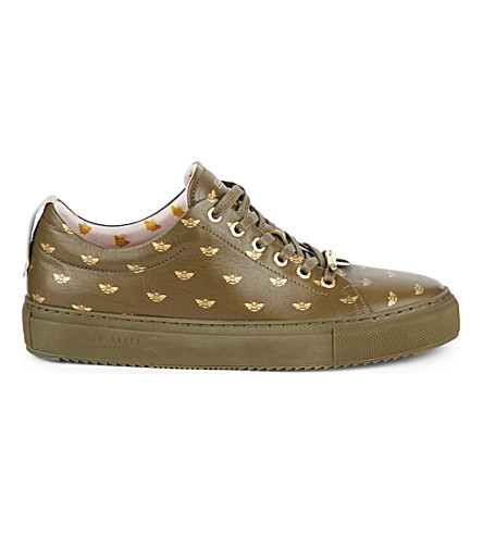 TED BAKER Colour by Numbers bee-embossed leather trainers (Khaki