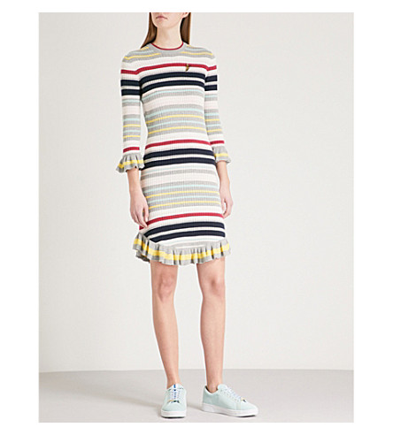 TED BAKER Frill cuff knitted dress (Grey